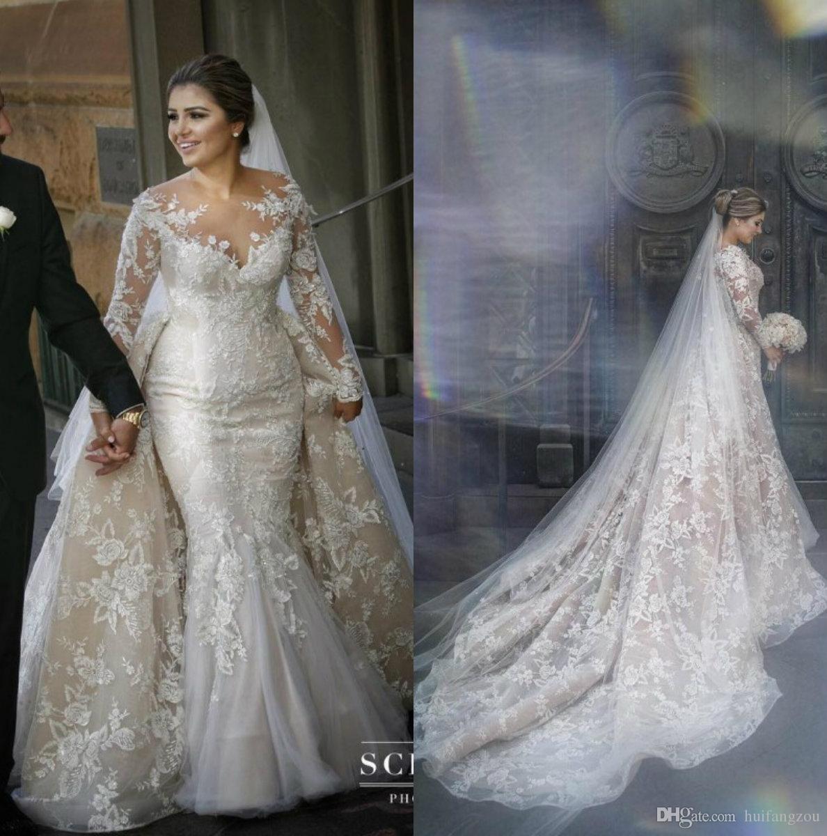 Vintage Mermaid Wedding Dress With Detachable Skirt Arabia Sheer Neck Full Appliques Long Plus Wedding Dresses Wedding Dress Long Sleeve Trendy Wedding Dresses
