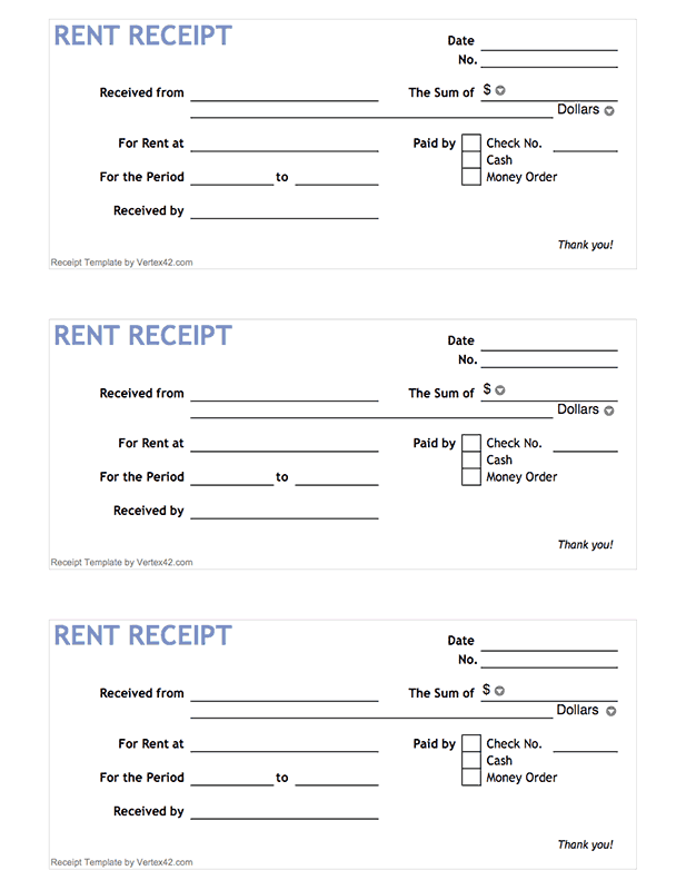 Free Printable Rent Receipt Form Pdf From VertexCom  Places