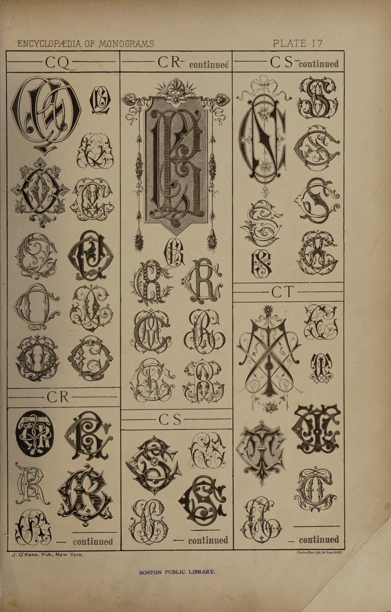 An Encyclopaedia Of Monograms Containing More Than Five Thousand Examples Of Two Three Four Letter Combinations In The English French German And Antiq In 2020 Monogram Boston Public Library Antiques