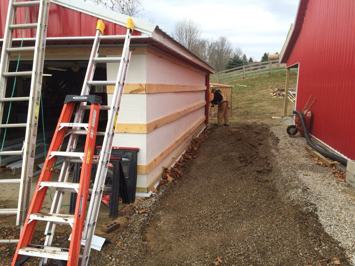 Original 1940s Cinder Block Garage Installing Pole Barn Metal Pole Barn Metal Siding Lean To