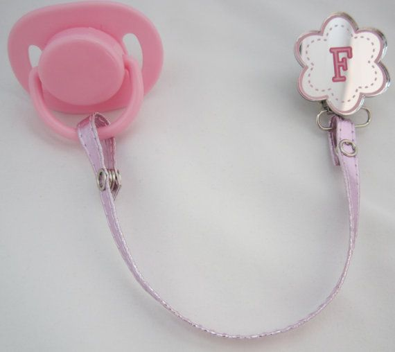 Pink Initial Pacifier clip with Leather strap by mycrystaldream, $19.99