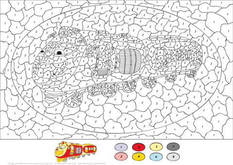 Train Color by Number from Color by Number Worksheets