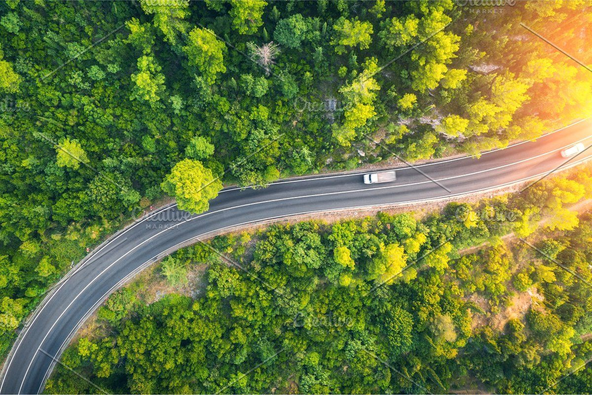 Aerial View Of Road In Beautiful Aerial View Aerial Drone View