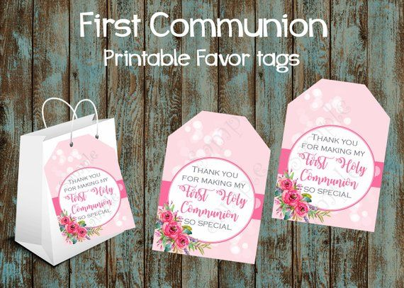 First Communion Favor Tags, First Communion Gift Tags