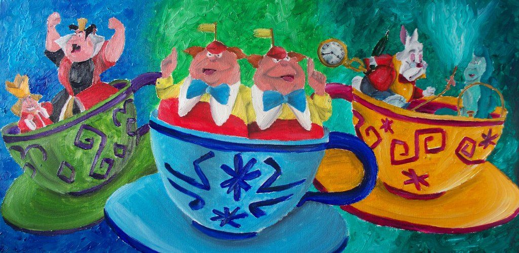Alice characters riding the teacups.