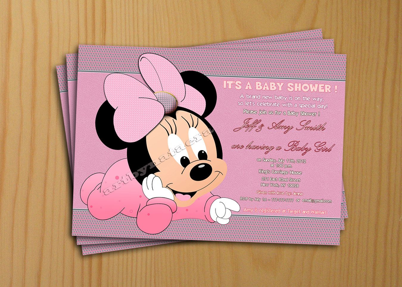 Minnie Mouse Baby Shower Decorations Baby Shower Invitations Pink Background Polkadot Style Photo
