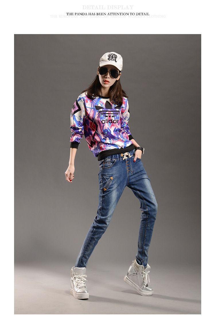 35c0e38121c39 AS50 Unique Scratched Women Jeans High Quality Plus Size Casual Trousers  Formal Women Harem Pants