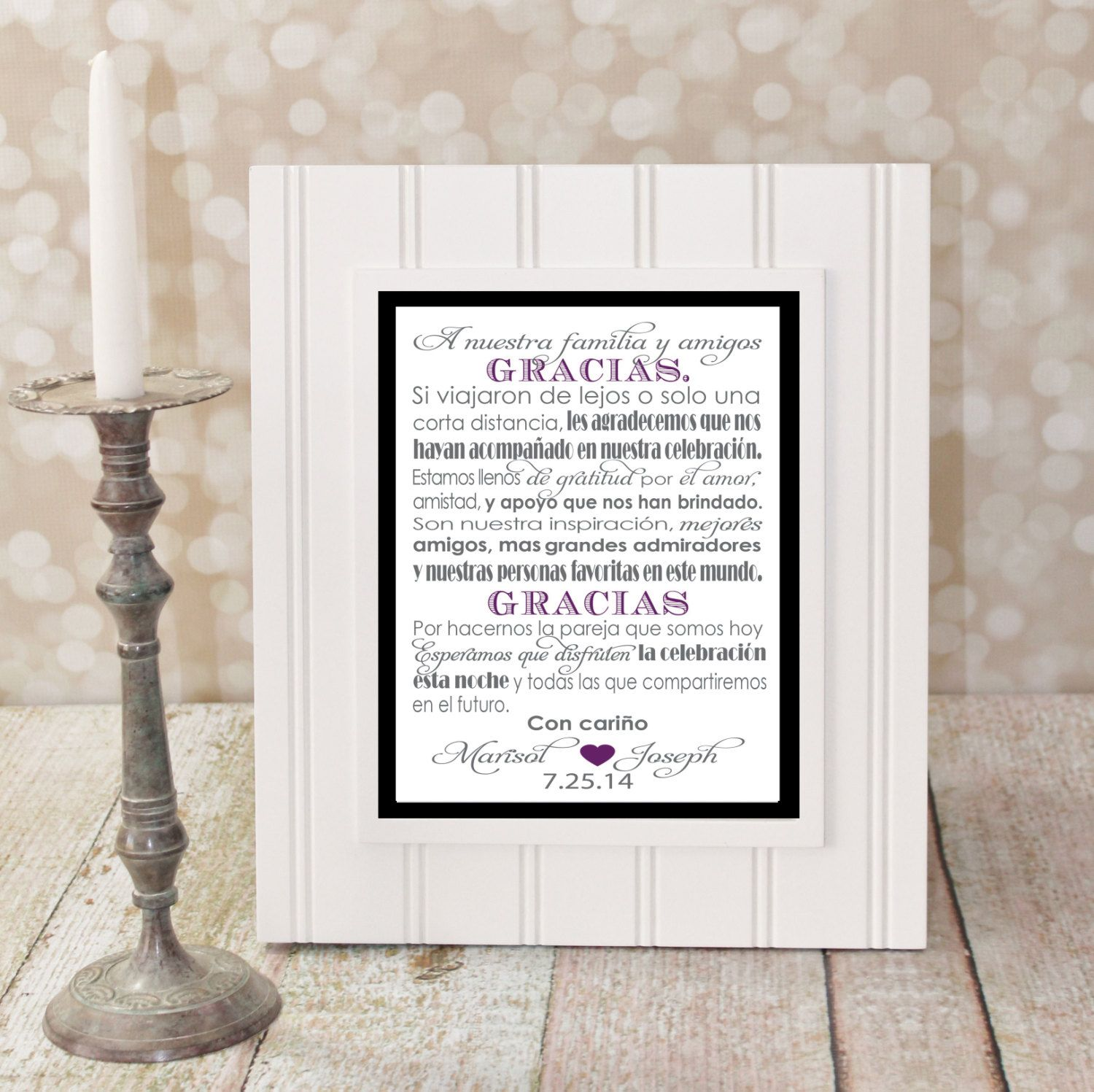Custom spanish wedding thank you card personalized with