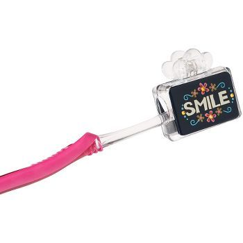 Clip-style plastic toothbrush cover with SMILE and colorful flower border over a dark blue background. A fun cover that will make a great gift for the constant traveler. Packaged on a toothbrush-shape