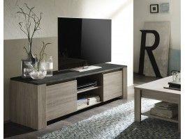 Meuble Tv Design Antonino En Agglomere Bois De Qualite 2 Portes 2 Niches Living Room Grey Modern Furniture Living Room Modern Tv Units