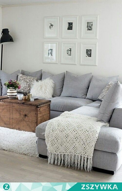 Sectional Couch Comfy Pillow And Blanket Additions Living Room