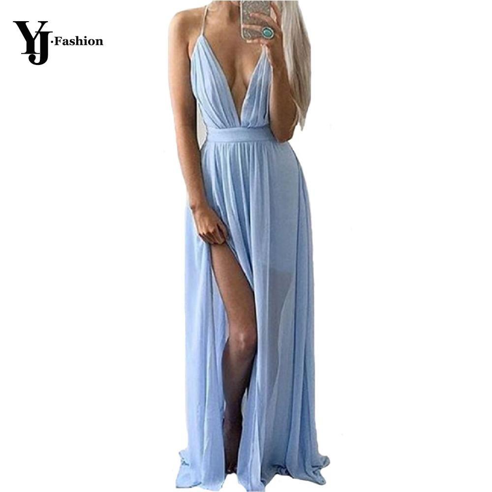 YJ Fashion Blue Long Maxi Dress Women Spaghetti Strap Deep V-Neck Sleeveless Floor Length Split Dresses for Bridesmaid Vestidos