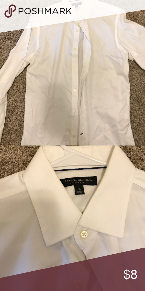 Men's button down White. Thicker material. Slim fit. Banana Republic Shirts