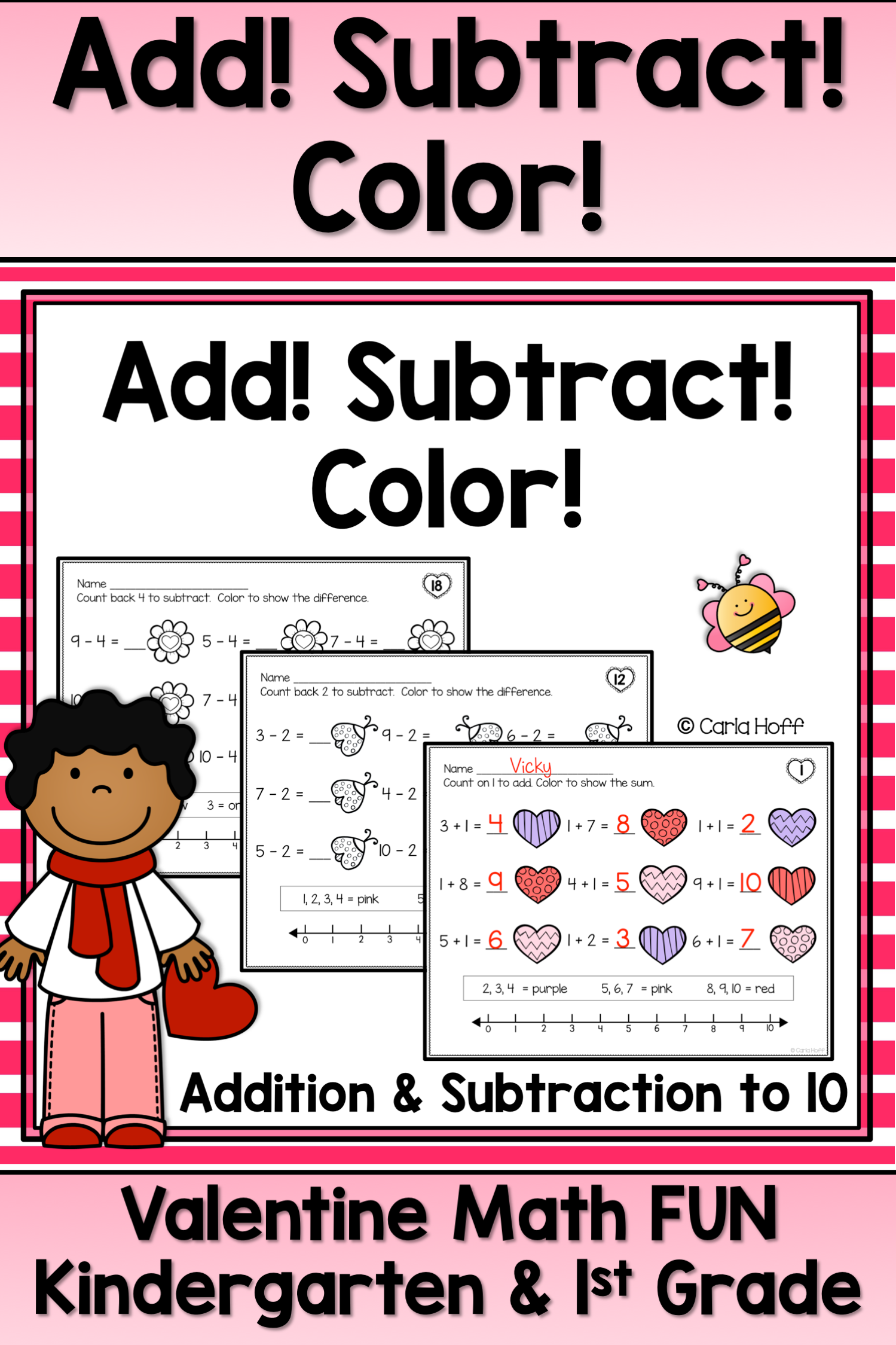 Valentine Addition And Subtraction Within 10 Worksheets