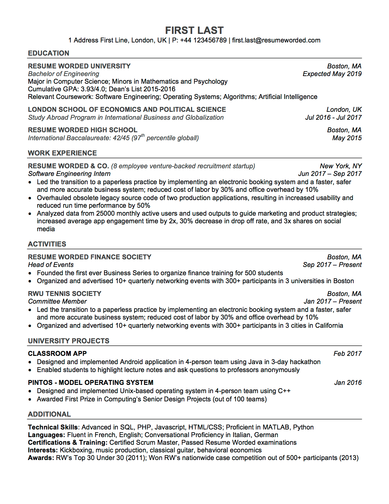 Professional Resume Template for Word 7 Simple Student ATS Resume Template for Word Entry-Level