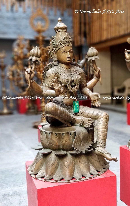 Lakshmi Sitting on Lotus base , 3 Feet height Newly made