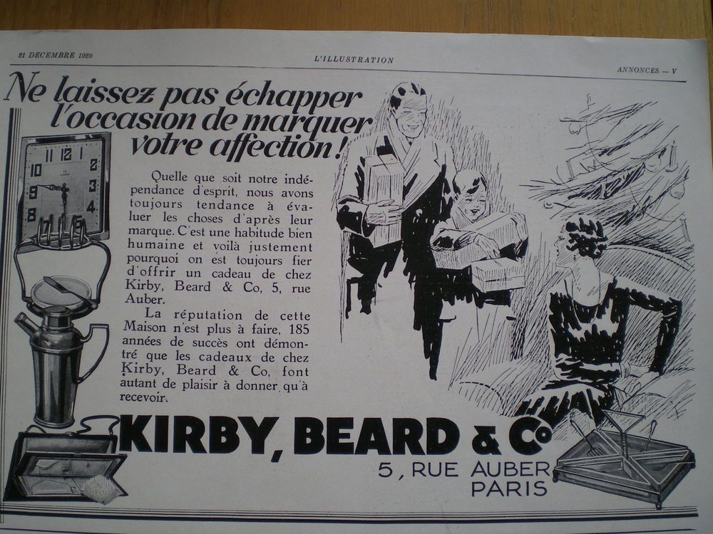 French Deco Vintage Half page advert Christmas 1929 Gifts