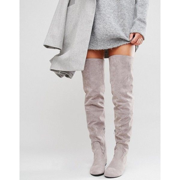Lace Back Grey Over The Knee Boots - Grey Daisy Street 1zBtM