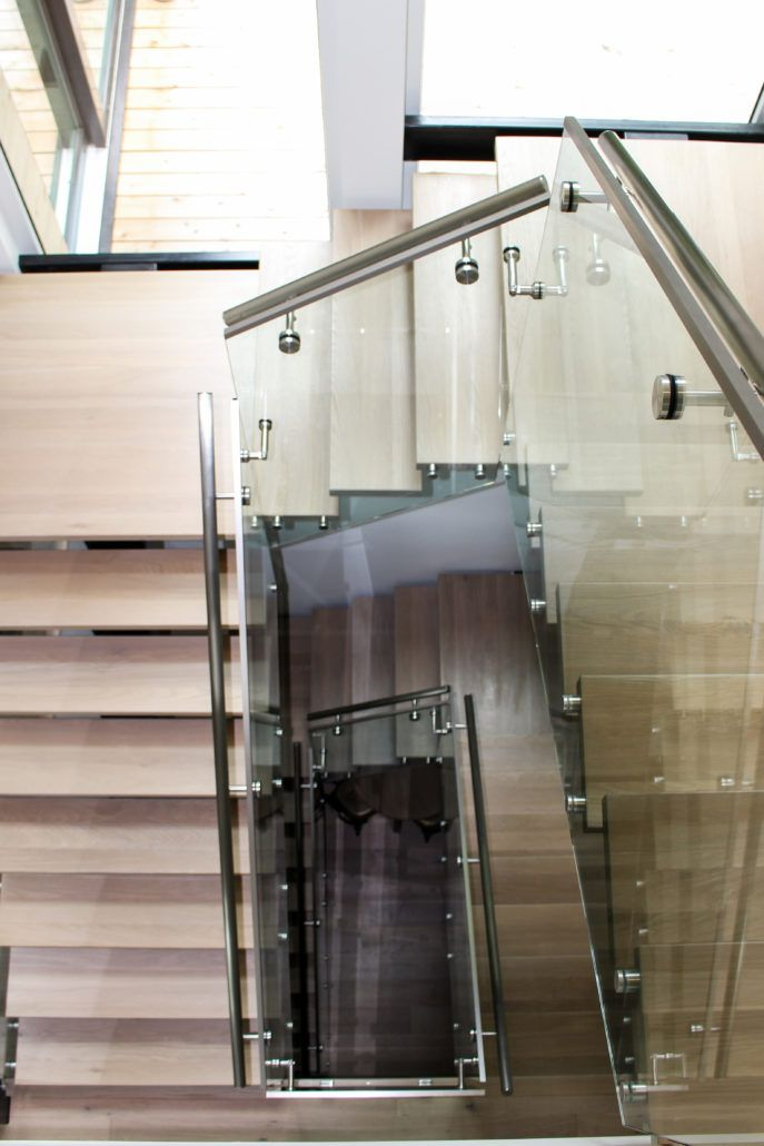 Best Modern Glass And Chrome Railings With Natural Wood Stairs 400 x 300