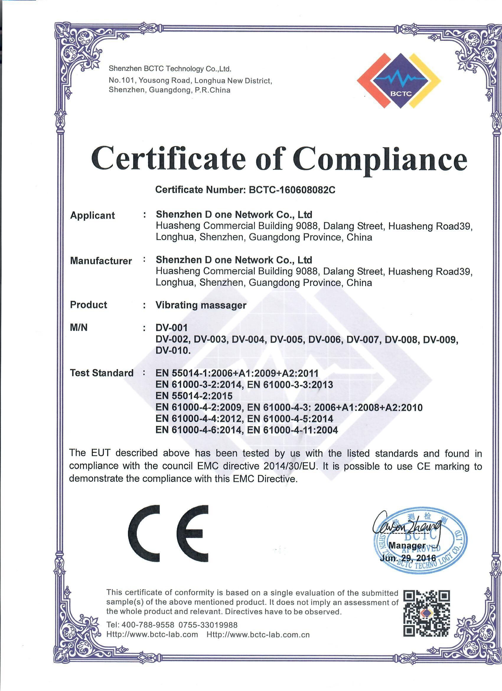 Ce Emc For The Vibrating Massager Commercial Technology Networking Rohs certificate of compliance template