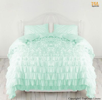 New 1000TC Egyptian Cotton Waterfall Ruffle Duvet Cover   Choose Size And  Color