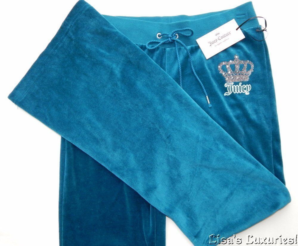 NWT Juicy Couture Women's XS Velour Bootleg Sweat Pants Teal Bling #JuicyCouture #CasualPants