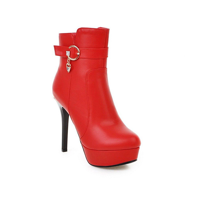 WeiPoot Womens Zipper High-Heels PU Solid Low-top Boots Black 42