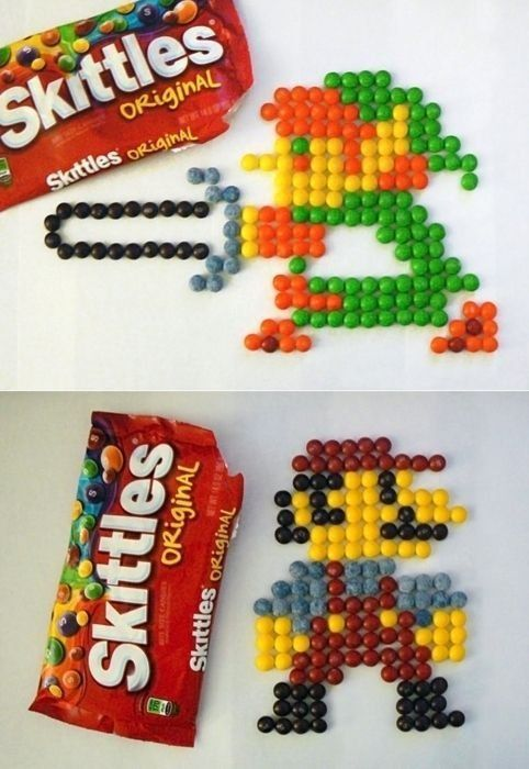 Link and Mario made out of skittles! XD Except they used the wrong colors for Mario... Maybe they ate all the other ones already. Lol.