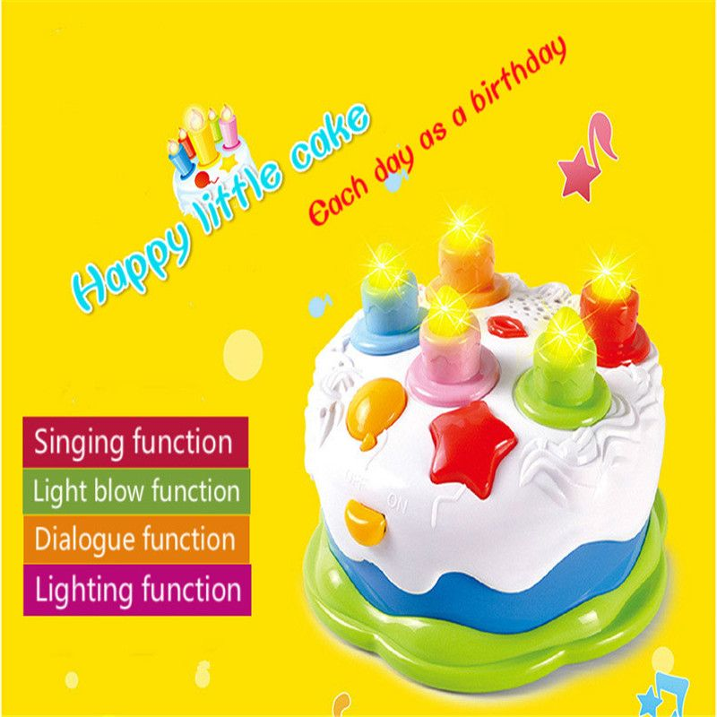 Kitchen Toy Birthday Cake Singing DIY Model 3 Children Kids Early Educational Classic Pretend Play Food Plastic