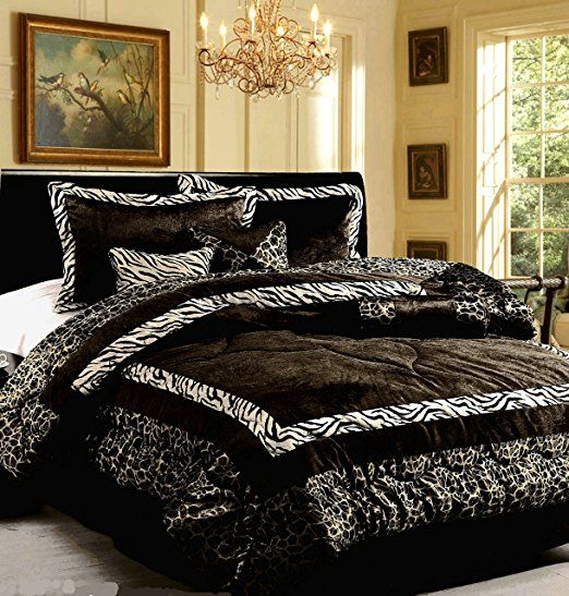 Amazon Com Dovedote 7 Piece Safari Zebra Animal Print Comforter