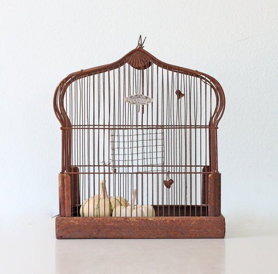 Vintage Crown Birdcage by bellalulu on Etsy, $72.00