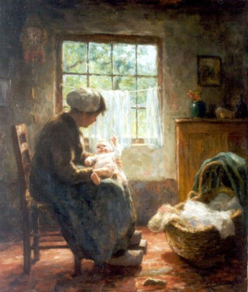 Maternal Love Evert Pieters (1856 - 1932, Dutch)