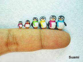 Pinguino - Pinguini in miniatura Micro Crochet - Set di sei pinguino pulcini - su ordinazione #miniaturetoys