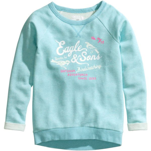 Sweatshirt with Printed Design $14.95 (€14) ❤ liked on Polyvore featuring tops, hoodies, sweatshirts, girls, kids, blue sweatshirt, sweat shirts, long sleeve sweatshirt, pattern tops i print top