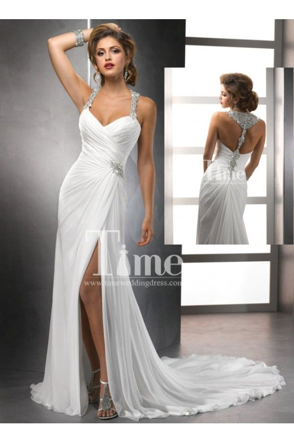 Sexy A Line Halter With T Strap Back Beaded Chiffon Beach Wedding Dresses Bridal Gowns 2014 New Arrival I Like But Not The Top Portion Too Thick