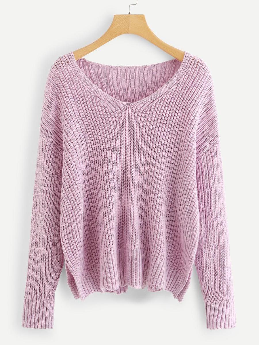 96e7da95f88 Drop Shoulder Slit Hem Sweater -SheIn(Sheinside)