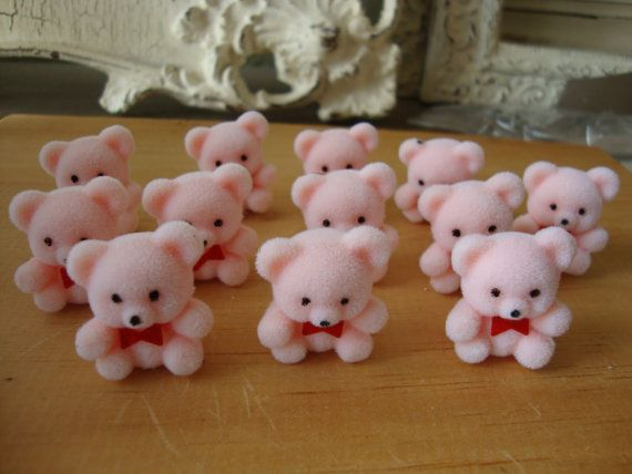 "Lot of 12 Darice Craft Pink Miniature 1/"" Flocked Teddy Bears with Red Bow Tie"