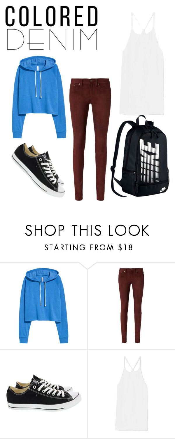 """Colored Denim"" by kataetae ❤ liked on Polyvore featuring rag & bone, Converse, TIBI and NIKE"