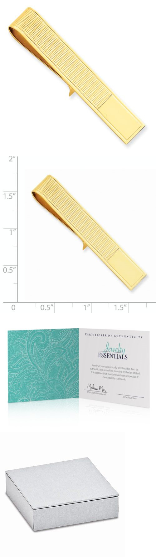 Tie Clasps And Tacks 10298 14k Solid Gold Bar 4364a Sku