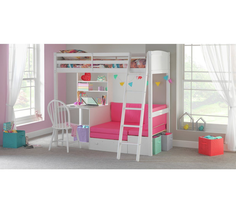 Buy Argos Home Classic White High Sleeper Bed & Fuchsia
