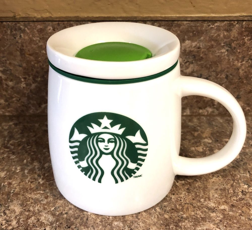 2011 Starbucks Coffee Travel Mug with Lid White with Green