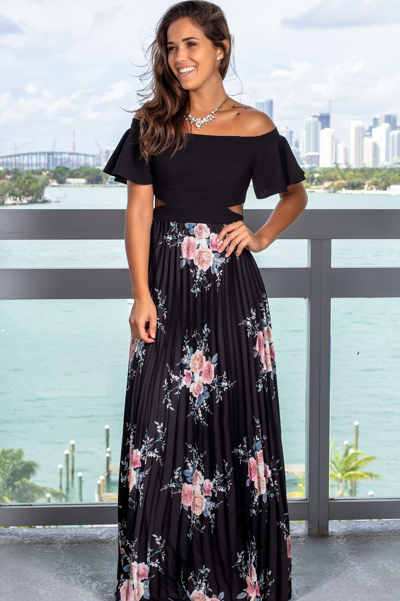 Black floral pleated maxi dress with ruffle sleeves with