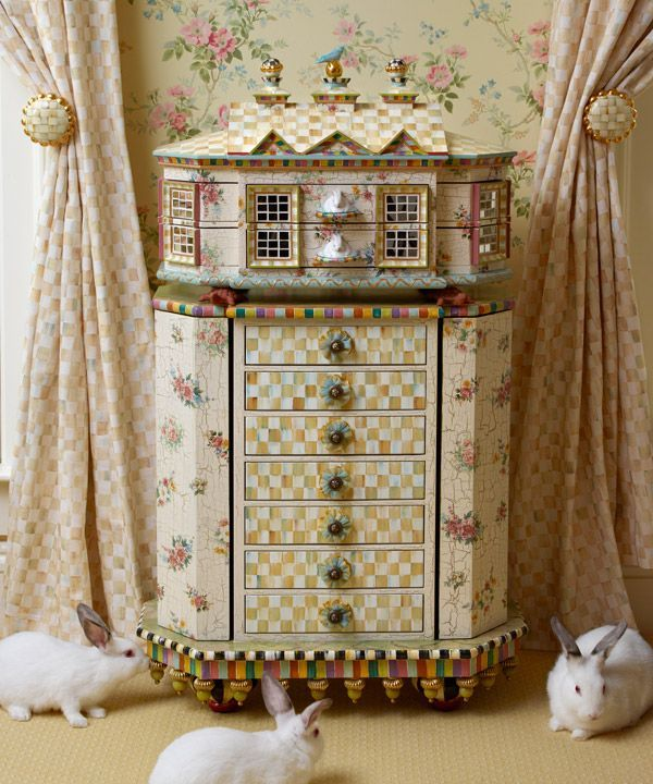 Floral Painted Furniture | This Two Piece Hand Painted Jewelry Armoire.  English Floral Decals