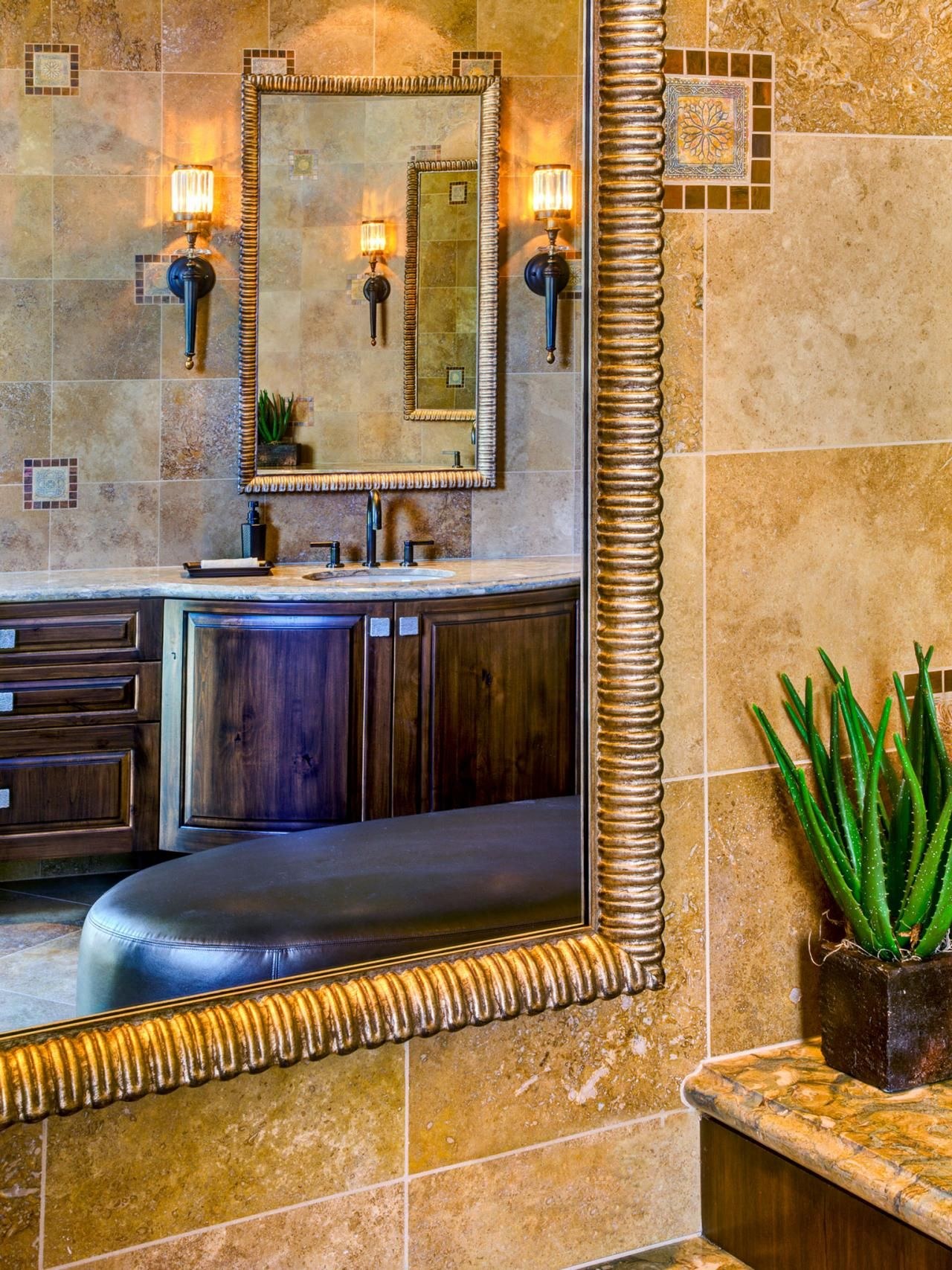 The Variances In The Travertine Wall Tiles And Hand