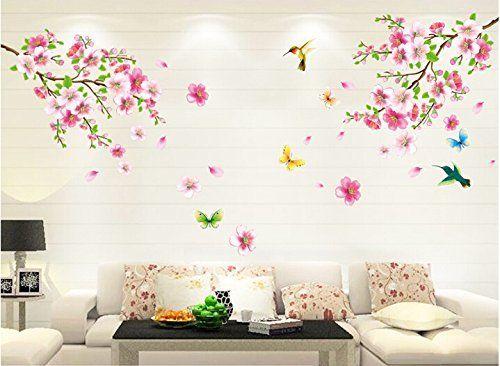 HALLOBO® XXL Wandtattoo Blumen Vogel Schmetterling Wandaufkleber