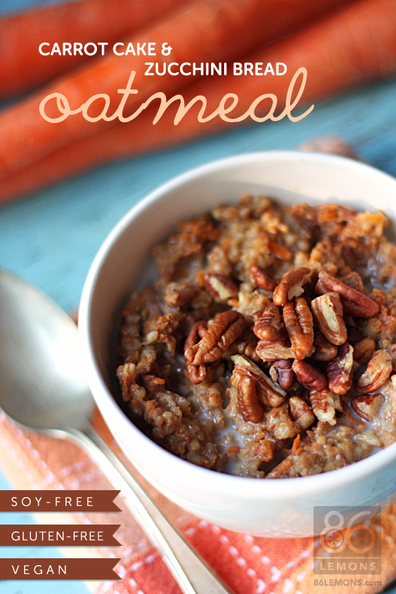 Vegan Carrot Cake & Zucchini Bread Oatmeal in the CROCK POT! Also gluten-free and soy-free.