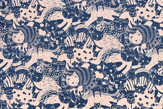 Japanese Fabric Big Cat canvas blue pink 50cm