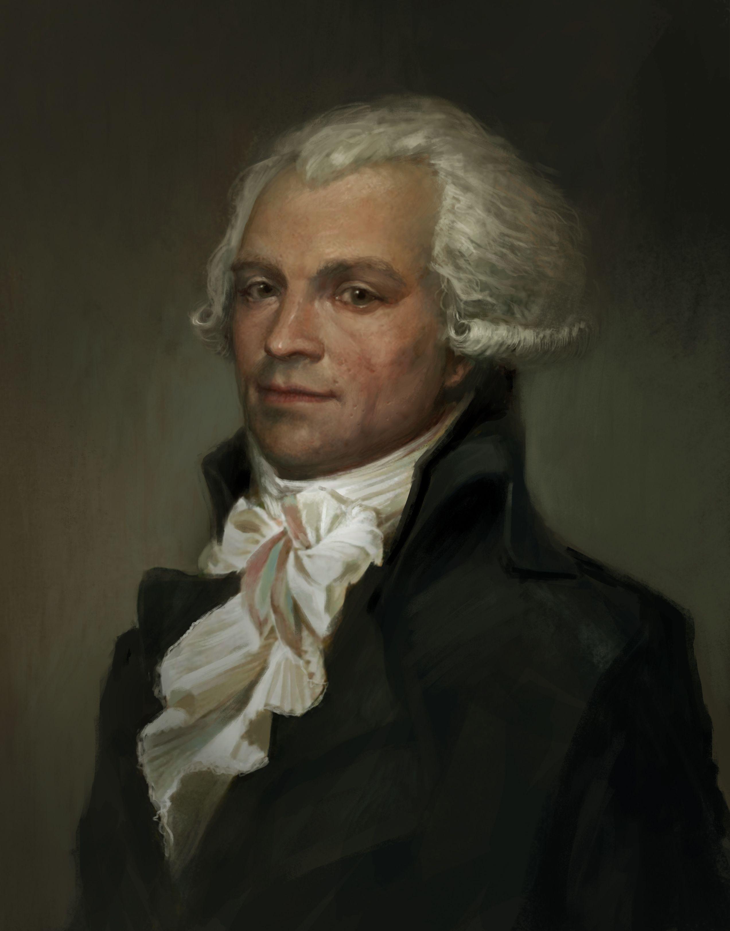 Maximilien Robespierre. Painting photoshop réalisé par Julien Lasbleiz,  basé sur des références de peintures