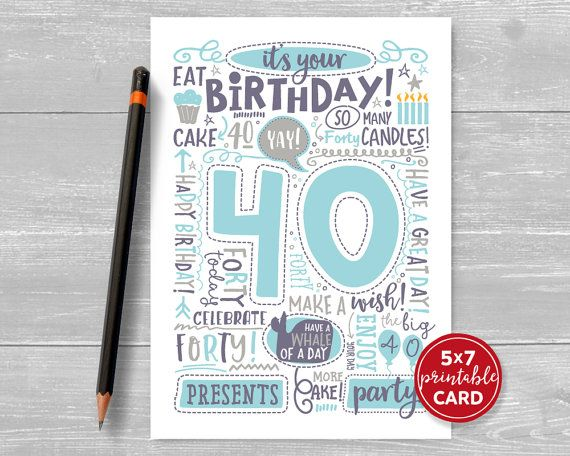 Printable 40th birthday card doodled thirty birthday card in blue printable 40th birthday card doodled thirty birthday card in blue 5x7 plus printable envelope template instant download bookmarktalkfo Image collections