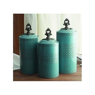 Teal Blue Canister Set Ceramic 3 Piece Asian Kitchen Counter Jars